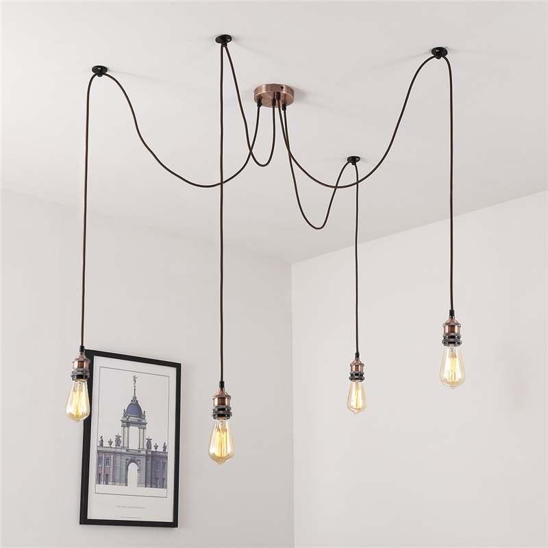 Smuxi 4x головки винтажные промышленные подвесные светильники для E27 лампа база кластера Ресторан Декор в гостиную