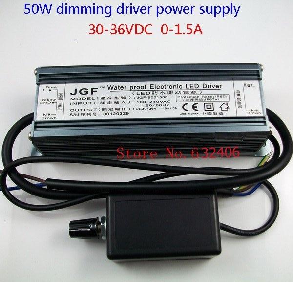 Ip67 étanche 50 W Dimmable courant Constant LED Driver avec gradateur, Ac à DC25V-36V 0-1.5A