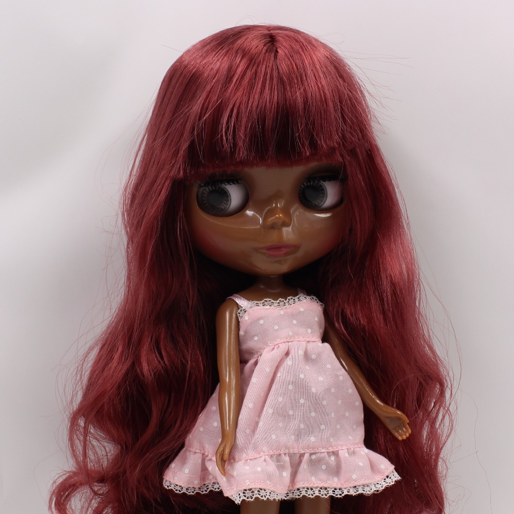 Tbl Neo Blythe Doll Black Skin Deep Red Hair Regular Body