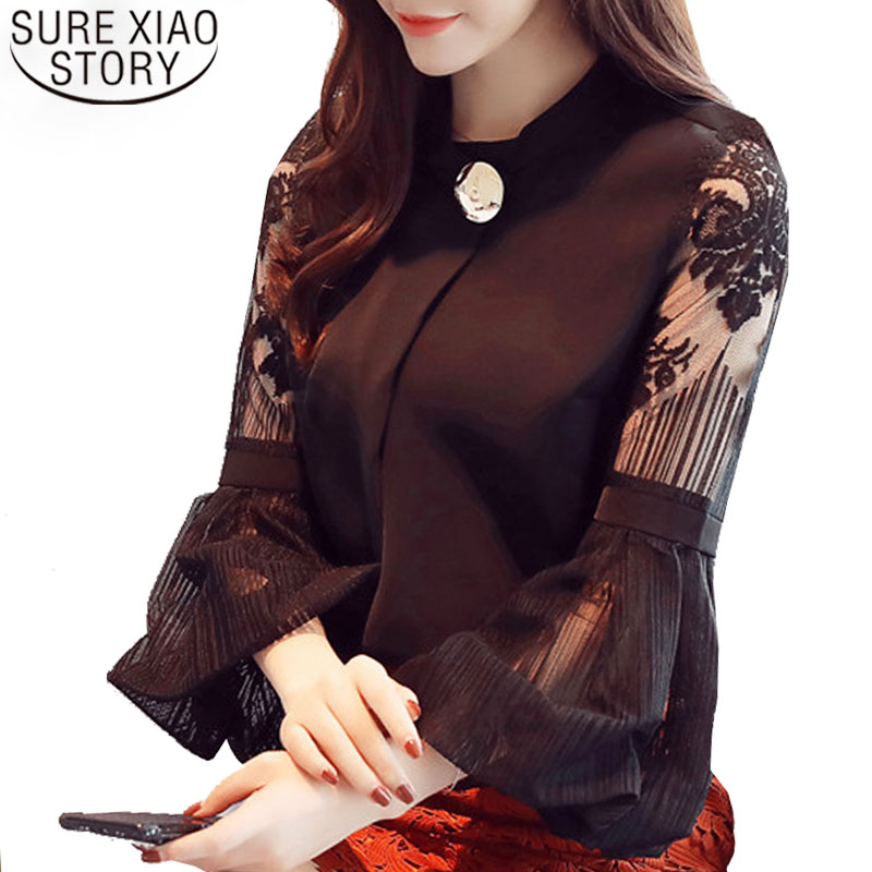 Women Tops And  Blouse Lantern Sleeve Women Clothing Sexy Chiffon Women Blouse Shirt Loose Stand Neck Ladies Tops Blusas D79 30