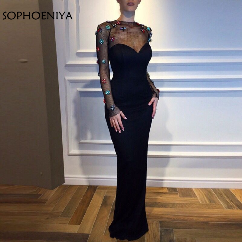 New Arrival Long sleeve black   evening     dress   Muslim Party   dress     evening   Black robe soiree Abendkleider 2019 avond jurken