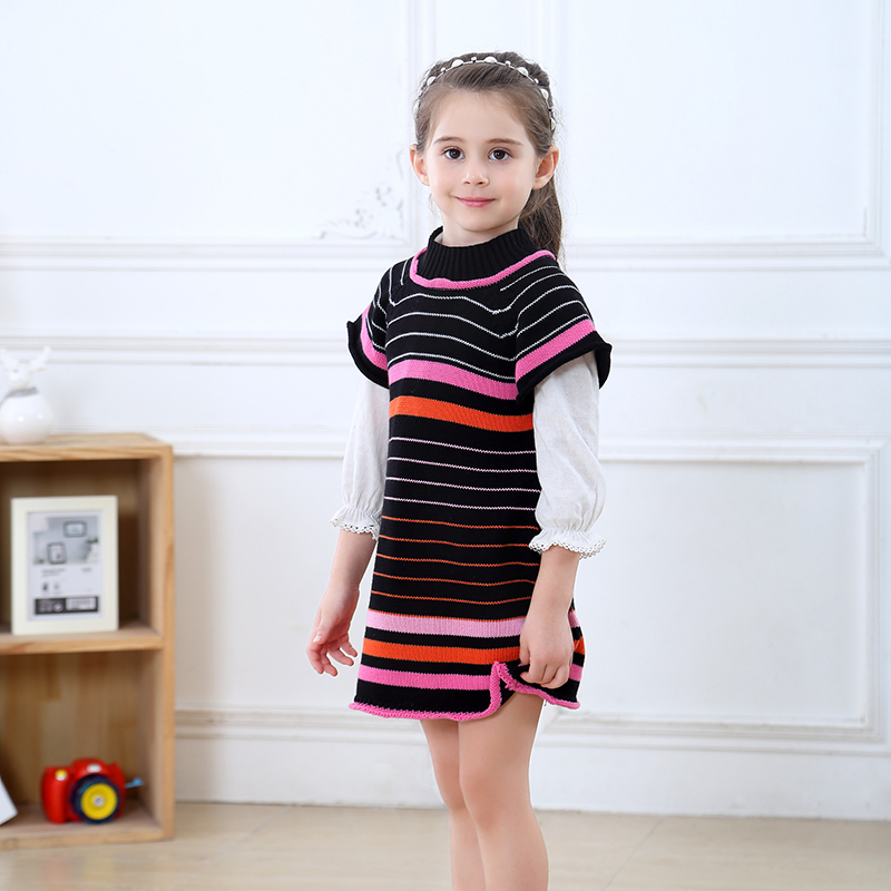 MCYYXY Little Girls Jumper Sweater Dress Baby Kids Spring Knit Pullover Cardigan School Children Clothes