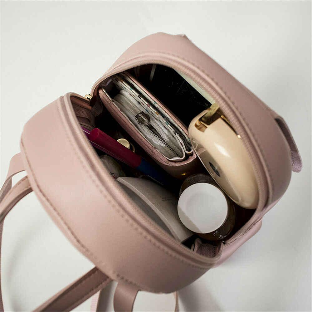 Japon kadın sırt çantası mini çanta rahat basit düz renk suni deri placak canta omuzdan askili çanta