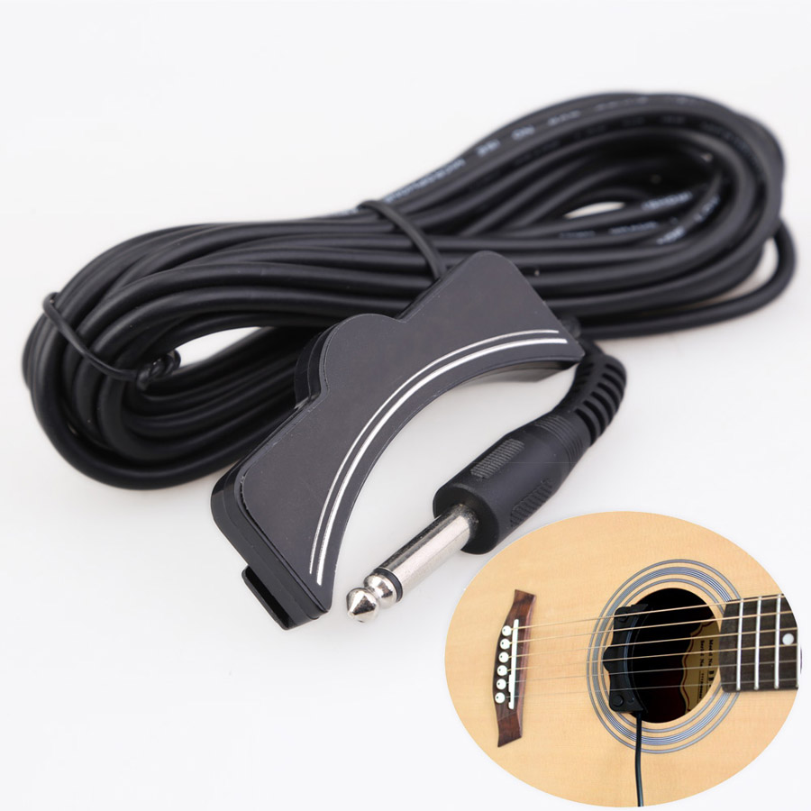 Classical Acoustic Guitar Amplifier Soundhole Pickup 6.3mm Jack 5M Cable for Acoustic Guitars Accessories flowers butterflies pattern waterproof shower curtain