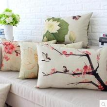 Funda de cojín en forma de loto colorida tinta china clásica vintage funda de almohada para cintura almohada lumbar para sofá