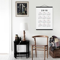 2018 Calendar Modern Chinese Dog New Year Gifts Wooden Framed Canvas Prints Office Home Decor Wall Art Posters Hanger Scroll