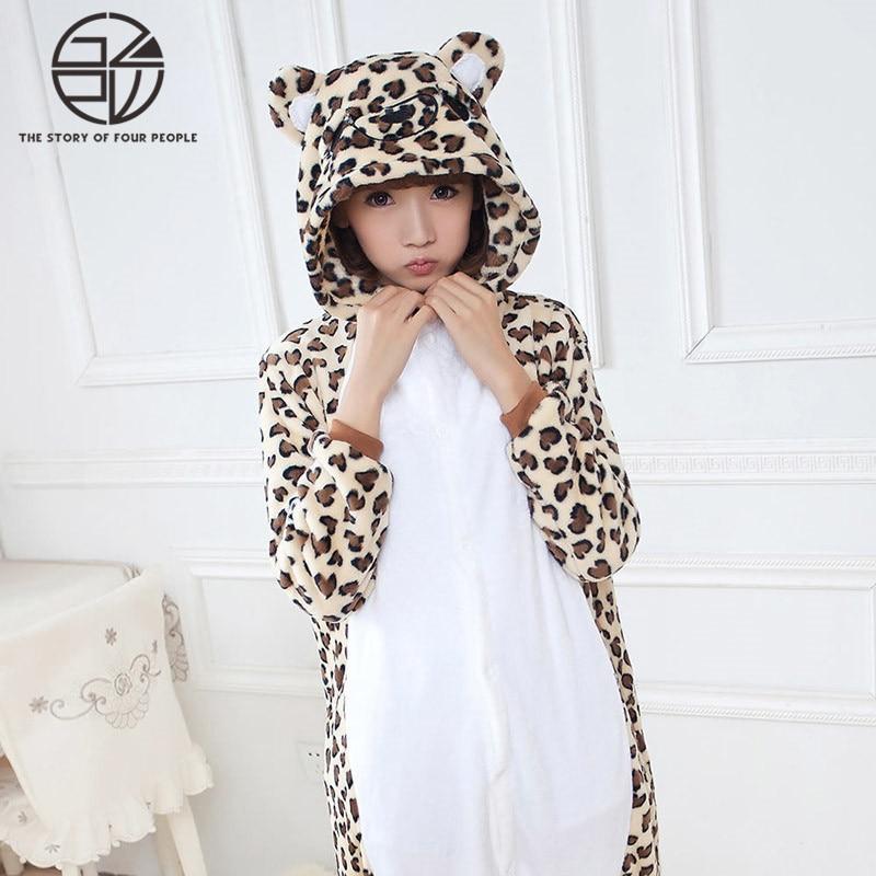 Gzpw Косплей леопардовым принтом Медведь Аниме мультфильм мужские и женские пижамы фланелевые Прекрасный животных показывают размер одежды ...