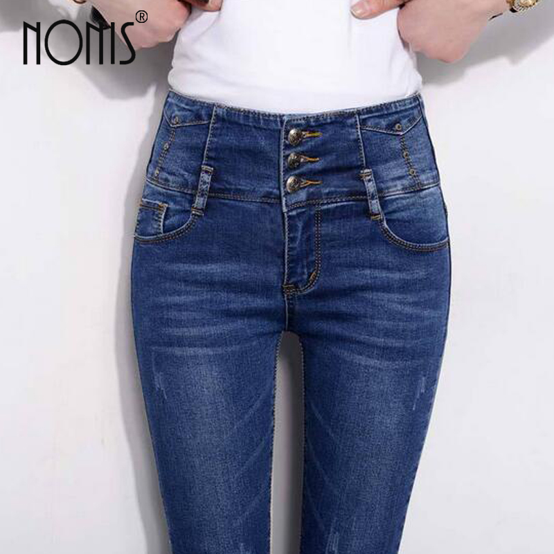 Nonis High Waist Women Jeans Trousers Plus Size 32 Female Stretch Jeans Pencil Pants Denim Blue Femme Pantalon Leggings high waist jeans women plus size femme stretch slim loose large size jeans pants 2017 casual ankle length haren pants trousers