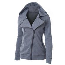 Spring Solid Color Hooded Jacket Long Sleeve Women Hoodies Sweatshirts Black Zipper Autumn Winter Outerwear Coats