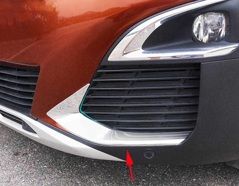 2pcs Fit For 2017 Peugeot 3008 GT Line Accessories Front Fog Light Bottom Trim Strip ABS Plastic Decoration Sticker Car Styling