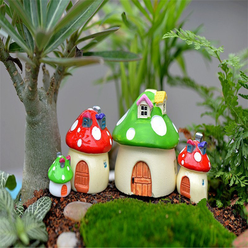 3 Size Mushroom Miniature Garden Ornament DIY Craft Pot Fairy Dollhouse Decor PD