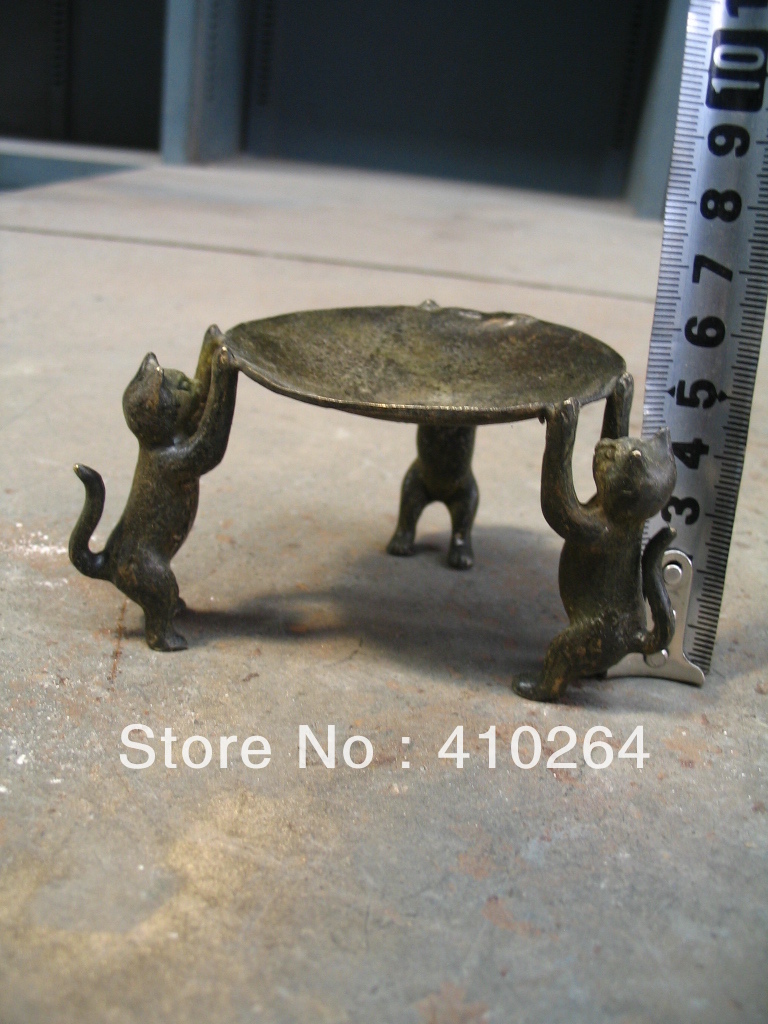 [Nice Discount ] Three Kitty Old China Bronze Light Marvellous Statue