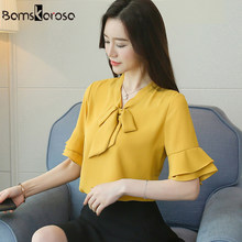57155748840b9f 2019 New Summer Chiffon Shirt Female Bow Tie Ruffle Blouse Women Elegant  Ladies Tops Office Blouses Pink Yellow blusa feminina