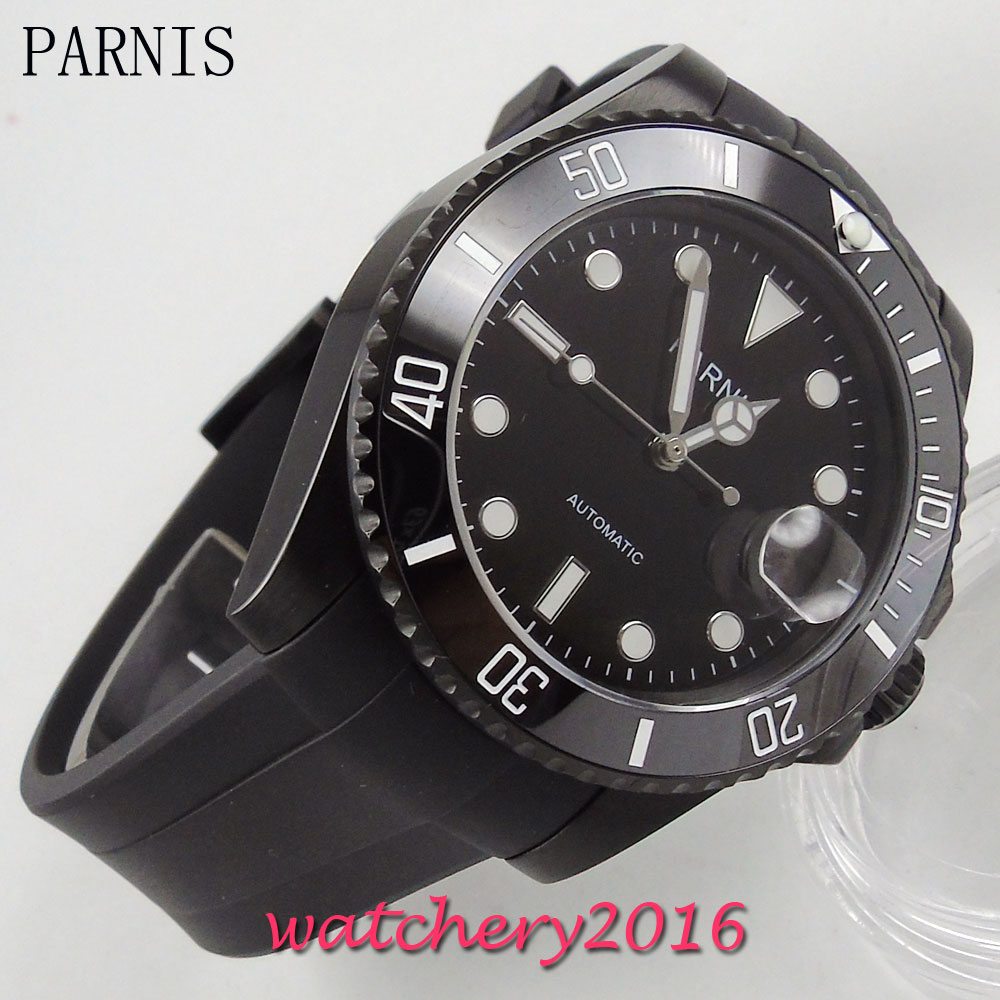 все цены на 40mm Parnis black dial ceramic bezel PVD date adjust sapphire glass automatic movement Men's Watch онлайн