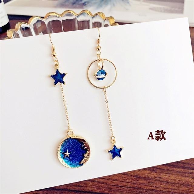 2019 Fashion Blue Universe Starry Planet personality star moon geometric round Asymmetric Long dangle Earrings for women jewelry