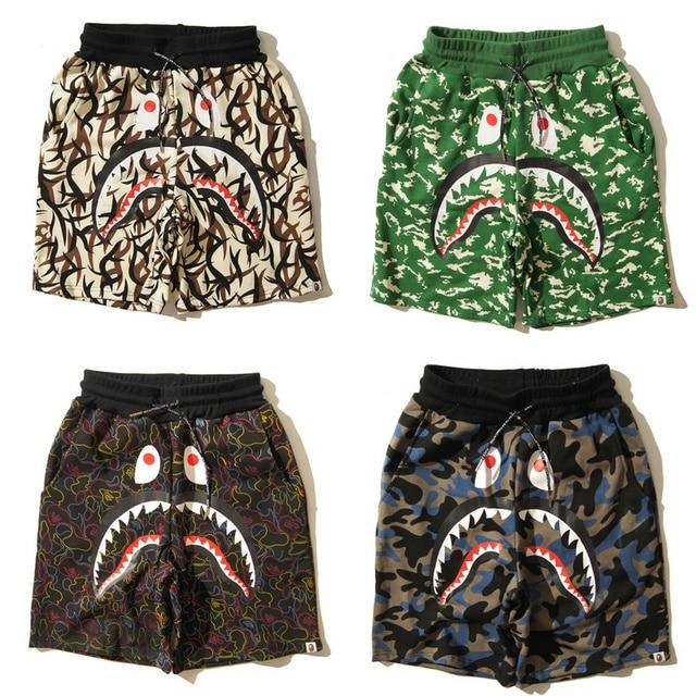 a420327cb Men Bape camouflage shorts drawstring jogging colorful surfing beach pants  Men Women fashion BAPE Shark gym shorts
