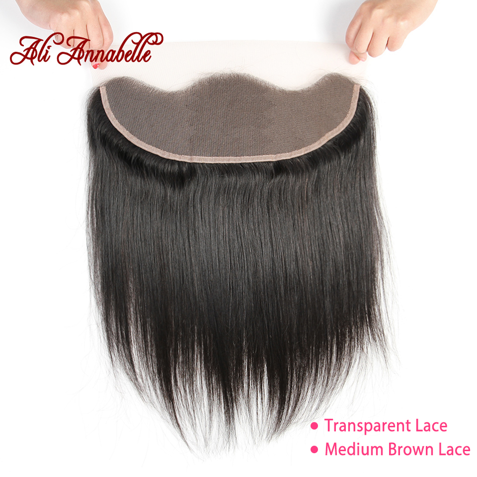 ALI ANNABELLE Straight Lace Frontal Closure Medium Brown Transparent Lace Frontal Brazilian Human Hair 13x4 Ear