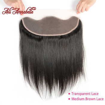 ALI ANNABELLE Straight Lace Frontal Closure Medium Brown/Transparent Lace Frontal Brazilian Human Hair 13x4 Ear To Ear Frontal - DISCOUNT ITEM  39% OFF Hair Extensions & Wigs