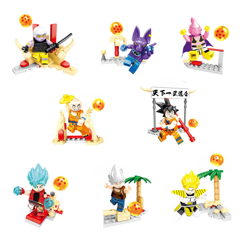 8PCS/LOT Dragon Ball Z Legoings Vegeta Goku The First Budokan In The World Ball Z Building Blocks Toys For Children Gifts Kids
