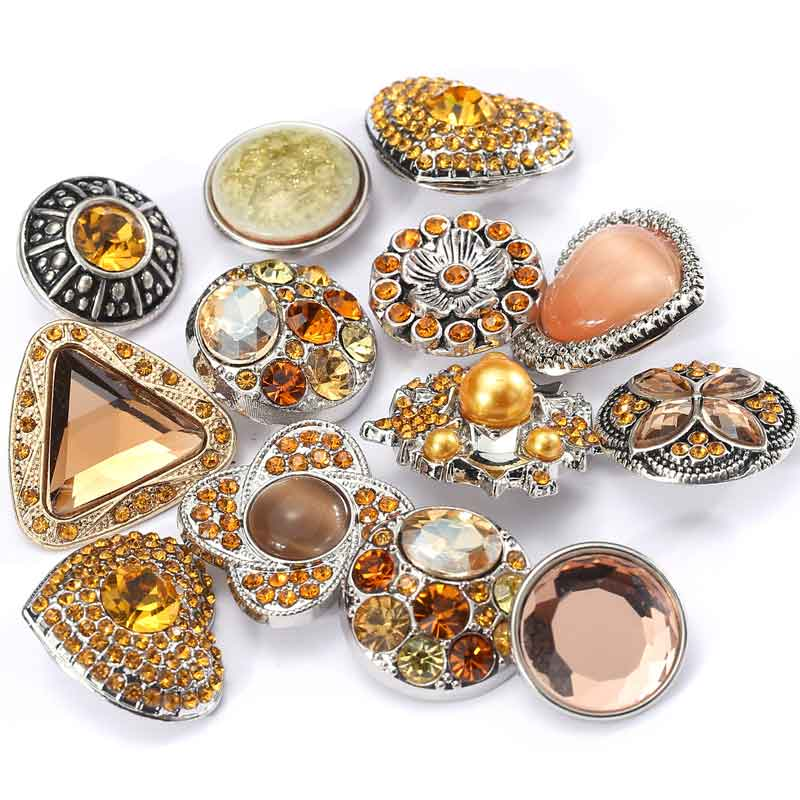 Rivca Jewelry Hot Wholesale 10pcs/lot Mix Color Many Rhinestone Styles Charm Metal Ginger Snap Button Bracelets For Woman image