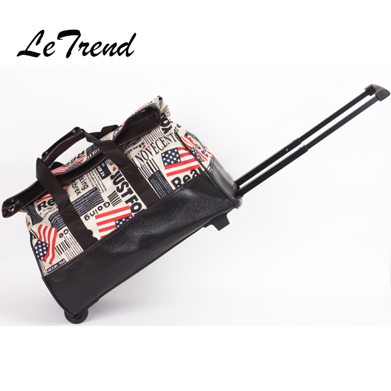 Letrend Retro British style Travel Bag Multifunction Suitcases Wheel Trolley Vintage Rolling Luggage High capacity Handbag letrend waterproof travel bag large capacity folding suitcases wheel trolley women rolling luggage handbag