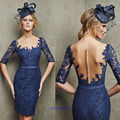 Free Shipping 2017 Hot sale Woman's Sexy Boat Neck Sashes Longo Vestido De Festa Appliques Lace  Evening Dress