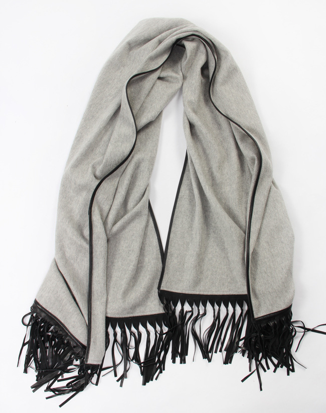 High quality women fashion cashmere scarf with leather tassel large shawl