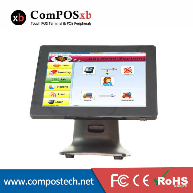 Black Color 15 Inch Pos System For Small Business Restaurant All In One Pc Pos System Windows Pos Terminal