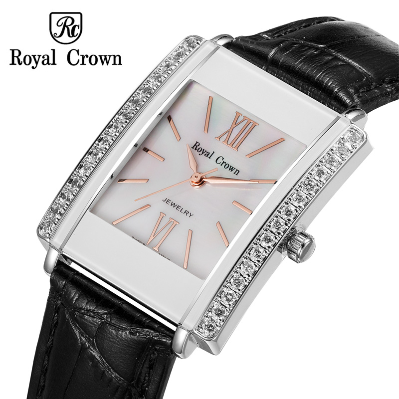 Royal Crown Luxury Jewelry Lady Women's Watch Fashion Hours Colorful Clock Leather Bracelet Rhinestone Girl Birthday Gift Box escam ip camera onvif wifi hd p2p wireless cctv security home camera 360 degree ir cut night vision support 64g micro sd card