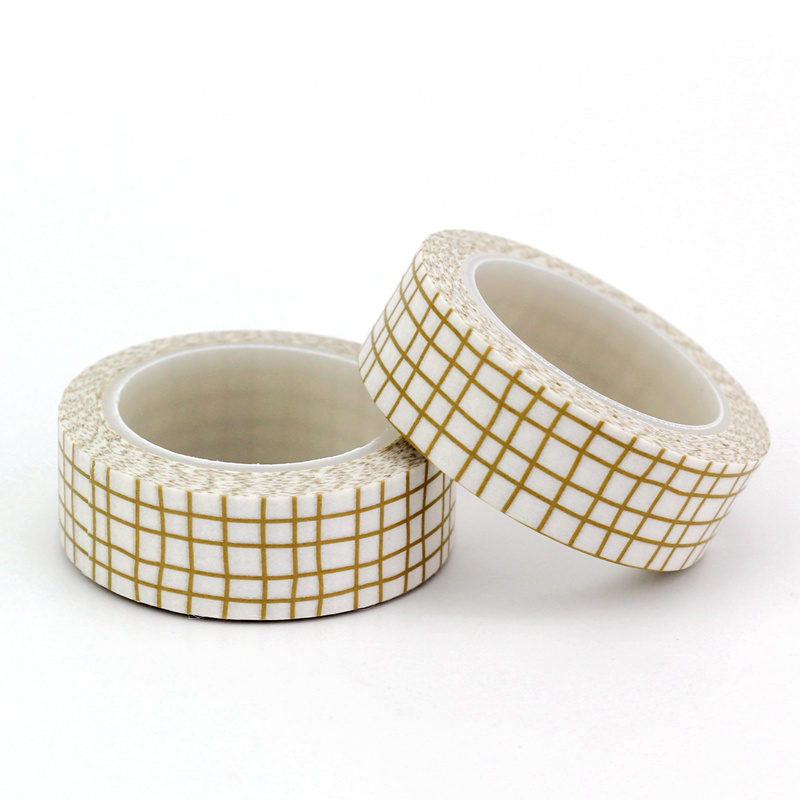 1.5cmx10M Custom Brown Grid Washi Tape Japanese Paper DIY Planner Masking Tape Adhesive Tape Stickers Decorative Stationery Tape