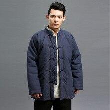 Мужчины зима теплая куртка стенд воротник пальто сплошной цвет хлопка белье мужчины кунг-фу retor куртка китайский стиль высокое качество куртка Q470