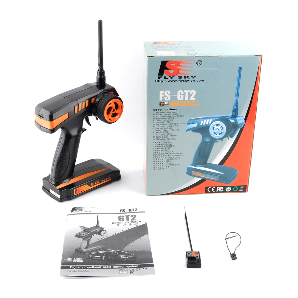 US $28 06 22% OFF|Fly Sky FS RC remote control 2 4G FS GT2 2CH Radio Model  RC Transmitter & FS GR3E Receiver For Rc Car Boat Model GT2-in Parts &