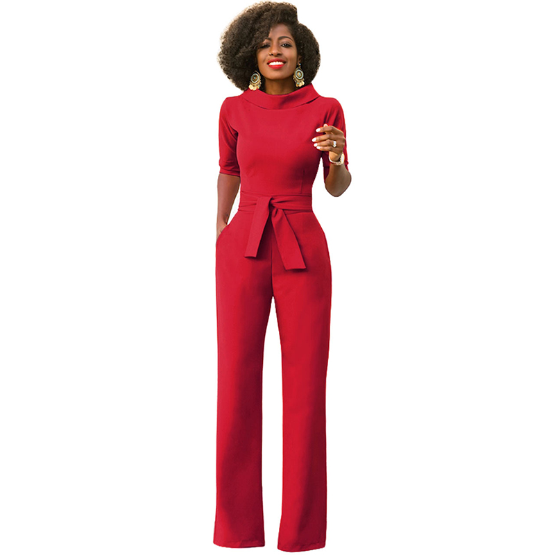 Red/Black/Wine/Green/Blue/Yellow/White Classic Style Half Sleeve Stand Collar Sashes Details Full-length Jumpsuits Big Size XXL