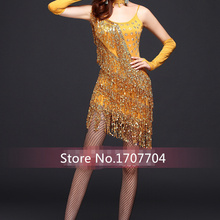 2016 new Free shipping rose gold red fringed tassel sequin women stage  performance dress latin dance cdd05760efbd