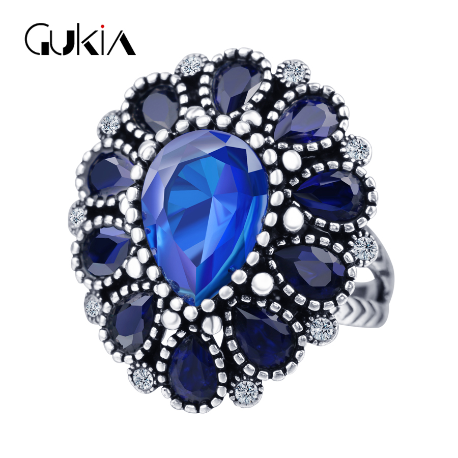 Vintage Jewelry Rings For Women Blue Crystal Flower Wedding Ring Women Fashion Jewelry Christmas Party Black Friday Gift