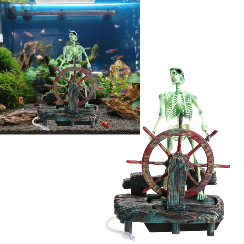 Pirate Captain Aquarium Dekoratsioonid Maastiku skelett rattale Action figuur FishTank Ornament Aquarium Decoration