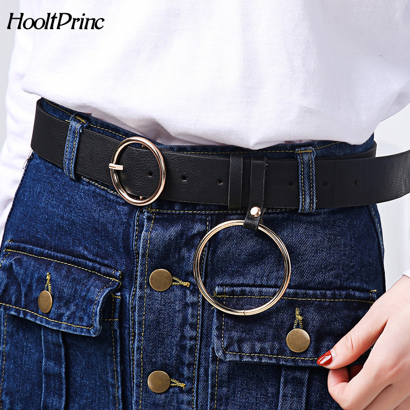 Newest Design Women Waist Belt Lovely Women's Big Ring Decorated Belts Female Fashion Gold Pin Buckle Solid PU Leather Strap Hot