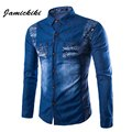 Men's Fitness Spring Dress Denim Shirts High Quality Casual Long Sleeve Turn-down Printed Jeans Shirts Male Washing Denim Shirt