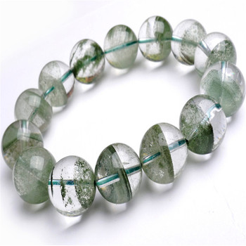 15mm Genuine Natural Green Chlorite Phantom Quartz AAAAA Transparent Clear Round Bead Women Men Powerful Stretch Bracelet