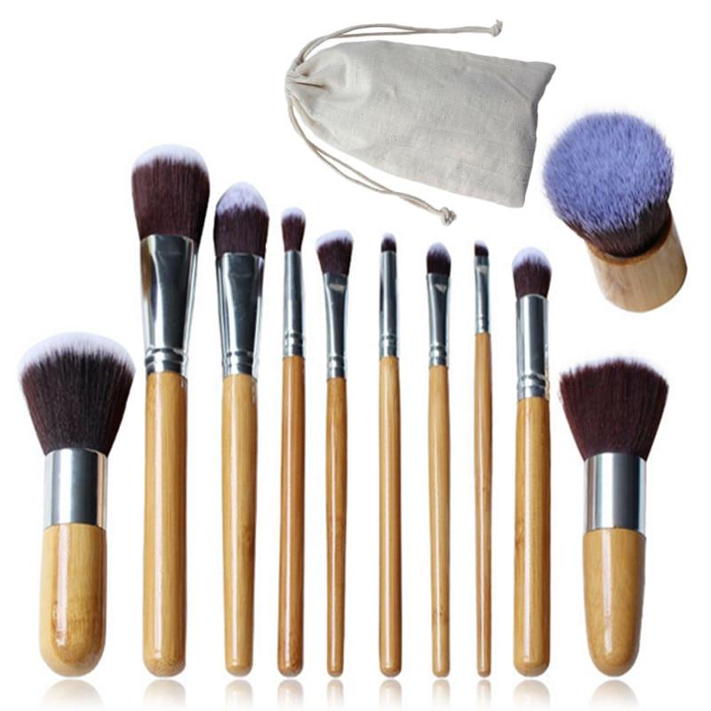 Face Blending Brush Kit 11 Pcs Makeup Brushes Set Bamboo Handle  Eyeshadow Foundation Concealer Blush Brush Pinceis De Maquiagem new 11pcs cosmetic eyeshadow foundation concealer bamboo handle makeup brushes set p4 m3