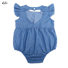 Summer Newborn Baby Girls Clothes Denim Romper Jumpsuit Playsuit Outfits Sunsuit Baby Romper baby girl clothes summer ruffled sleeves blue white plaid baby romper newborn toddler kids jumpsuit sunsuit outfits