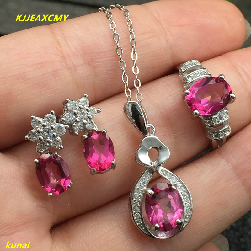KJJEAXCMY boutique jewels 925 silver inlay natural Pink Topaz Ring Pendant Earrings 3 suit jewelry necklace sent sdmj kjjeaxcmy boutique jewels 925 silver inlay natural pink topaz ring pendant earrings bracelet 4 suit jewelry necklace sen