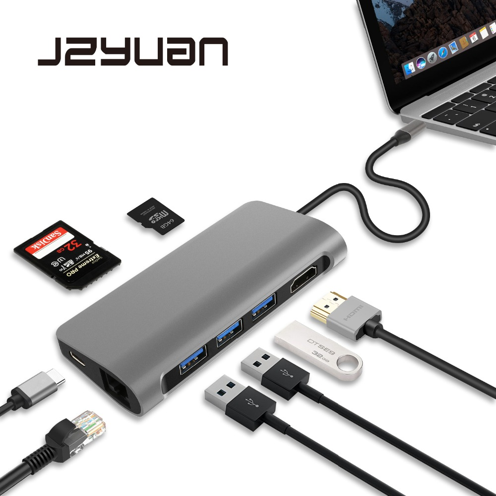 JZYuan USB C 3.1 Dongle HDMI 4K Ethernet LAN USB 3.0 PD SD/TF Card Reader Combo HUB Splitter For Samsung S9/S8/S8+ Macbook Pro