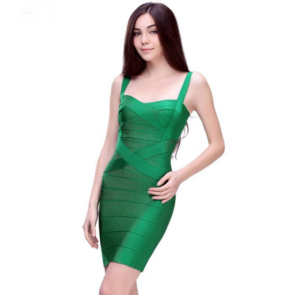 Hot Sale Spaghetti Strap Women Bandage Dress Sexy Backless Sleeveless Mini Dresses Celebrity Party Cocktail Bodycons Vestido HL