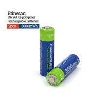 Bateria de Iões Nova de Lítio Lifepo4 2 Peças Etinesan 3000mwh AA Bateria Recarregável Polímero LI Aplicar Lanternas Brinquedos Câmeras Etc
