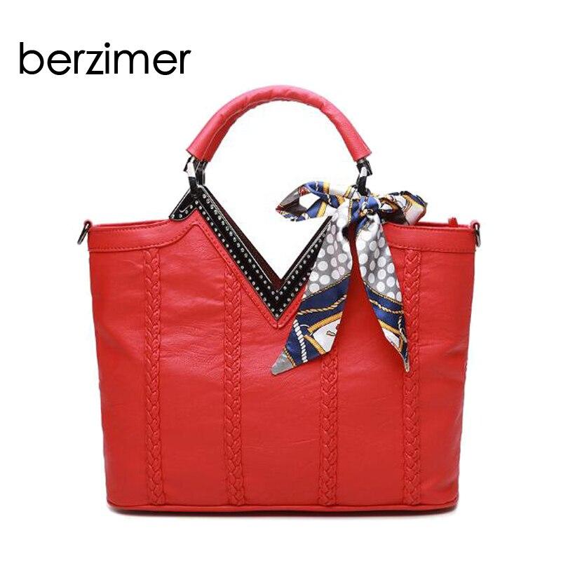 BERZIMER Eleagnt Women Shoulder Bags Female Fashion Black Red Gray Crossbody Soft Bags Messenger Tote Bags for Women цена