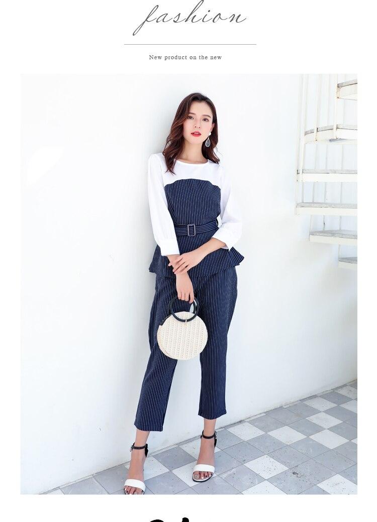 Office Lady Elegant 2PCS Pant Suit Set Women Blue Stripes Blouse And Trouser Suit Business Casual Outfits Woman Top With Pants Set Plus Size Clothings (7)