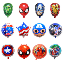 10pcs/lot spiderman balloon foil material 18inch round Avengers hulk Captain America ironman balloons for children toys