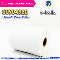 """5 Rolls Dymo Compatible S0904980 Label 104mm*159mm 220Pcs/Roll Compatible for LabelWriter 4XL Printer 4""""X6"""" Shipping Label