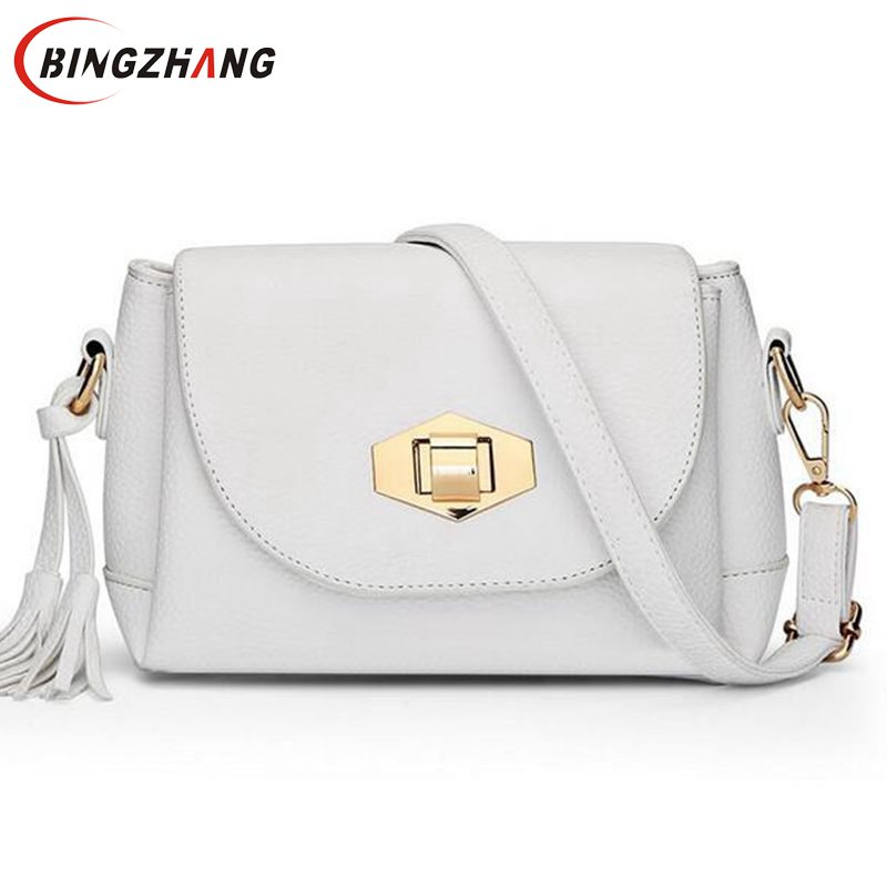 Small Tassel Women Messenger Bags Cute Girls Crossbody Brand Designer Leather Handbags L4-2495